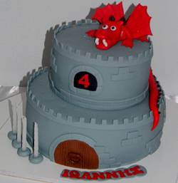 Red Dragon Castle Cake